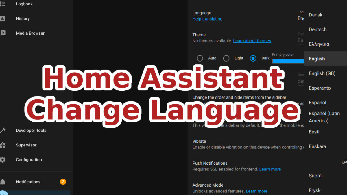 Select Language in Home Assistant